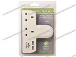 2 GANG PLUG IN ADAPTOR & 2 USB SOCKETS