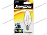 ENERGIZER FILAMENT LED CLEAR CANDLE SES E14 27K WARM WHITE 4W 470LM